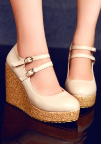 Beige Round Toe Wedges Double Buckle Casual High-Heeled Shoes