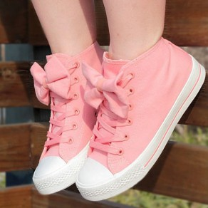 Pink Round Toe Bow Lace-up Sweet Cloth Shoes