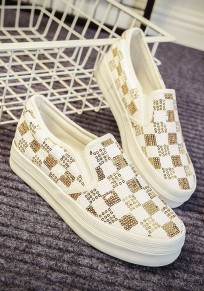 White Round Toe Flat Sequin Casual Ankle Shoes