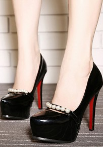 Black Round Toe Stiletto Pearl Fashion High-Heeled Shoes