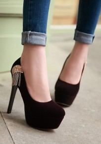 Purple Round Toe Stiletto Metal Tassel Casual High-Heeled Shoes