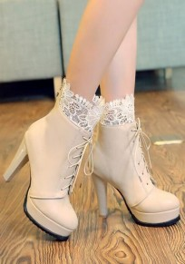Beige Round Toe Chunky Lace Stitching Lace-up Sweet Boots