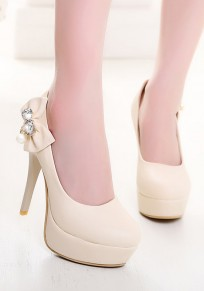 Beige Round Toe Stiletto Bow Pearl Fashion High-Heeled Shoes