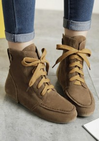 Brown Round Toe Flat Lace-up Fashion Martin Boots