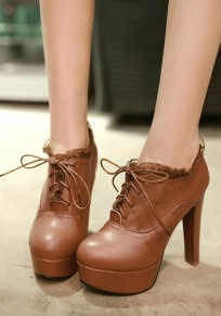 Brown Round Toe Chunky Flower Patchwork Lace-up Fashion Boots