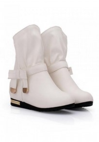 White Round Toe Within The Higher Bow Fashion Boots