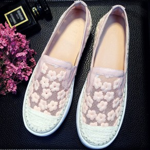 Pink Round Toe Flat Grenadine Embroidery Cute Shoes