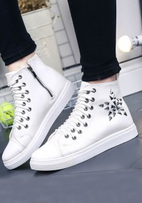 White Round Toe Flat Rivet Zipper Casual Canvas Shoes