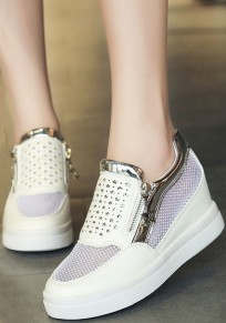 White Round Toe Flat Zipper Casual Ankle Shoes