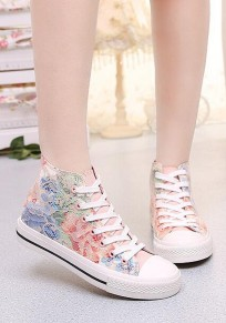 Pink Round Toe Flat Lace Floral Print Sweet Canvas Shoes