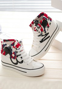 White Round Toe Floral Print Lace-up Casual Canvas Shoes
