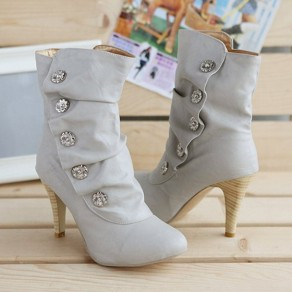Grey Round Toe Stiletto Rhinestone Buttons Casual Mid-Calf Boots