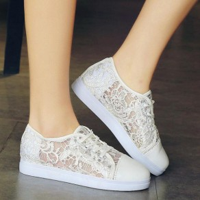 White Round Toe Grenadine Hollow-out Lace-up Casual Shoes