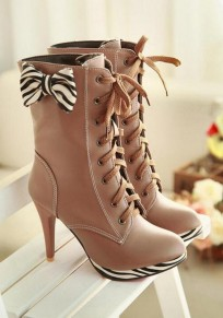 Camel Round Toe Stiletto Bow Fashion Mid-Calf Boots