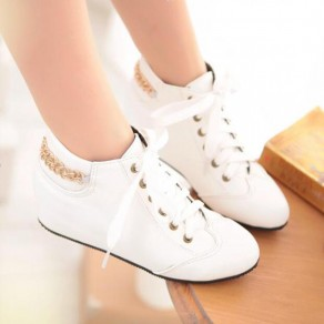White Round Toe Flat Chain Lace-up Casual Shoes