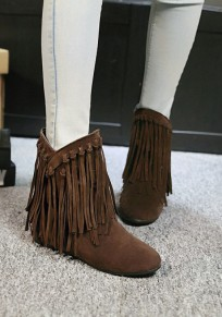 Brown Round Toe Flat Within The Higher Tassel Fashion Boots