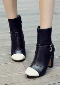 Black Round Toe Chunky Buckle Zipper Casual Boots