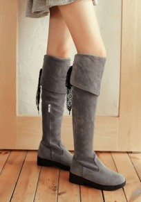 Grey Round Toe Chunky Fashion Over-The-Knee Boots
