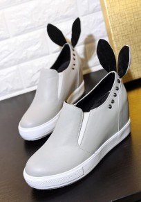 Grey Round Toe Patchwork Slip-On Casual Shoes