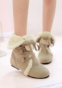 Beige Round Toe Lace-up Fur Casual Boots