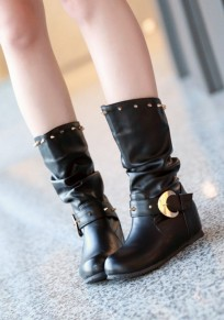 Black Round Toe Flat Within The Higher Rivet Casual Boots