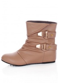 Camel Round Toe Flat Within The Higher Double Buckle Casual Boots