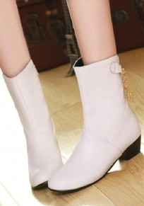 White Round Toe Mid Metal Chain Fashion Boots