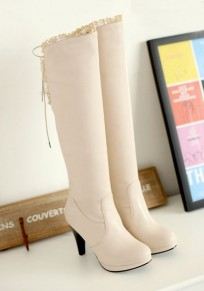 White Round Toe Stiletto Fashion Lace-up Over-The-Knee Boots