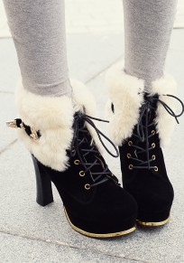 Black Round Toe Chunky Fur Lace-up Fashion Boots