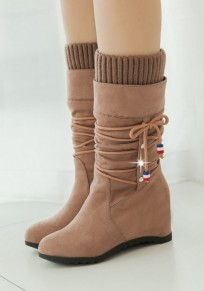 Apricot Round Toe Flat Within The Higher Casual Boots
