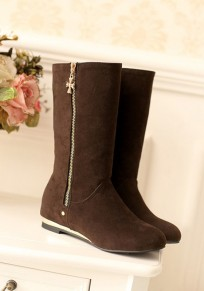 Dark Brown Round Toe Flat Within The Higher Casual Boots