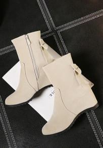 Beige Round Toe Flat Within The Higher Bow Sweet Boots