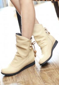 Beige Round Toe Flat Within The Higher Casual Boots