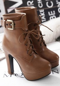 Brown Round Toe Chunky Lace-up Fashion Martin Boots