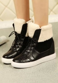 Black Round Toe Flat Lace-up Fashion Ankle Boots