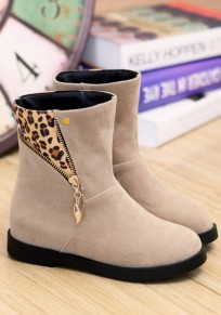 Beige Round Toe Flat Within The Higher Zipper Fashion Boots