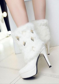 White Round Toe Stiletto Metal Leaf Decoration Fashion Boots