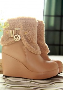 Camel Round Toe Wedges Buckle Casual Ankle Boots