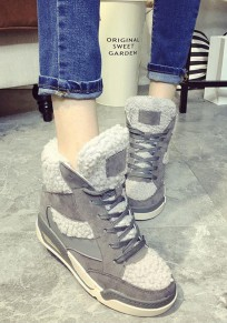 Grey Round Toe Within The Higher Lace-up Casual Boots