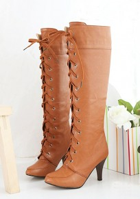 Yellow Round Toe Stiletto Lace-up Casual Boots