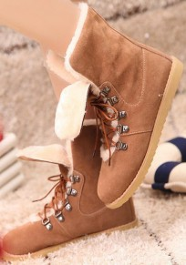 Brown Round Toe Flat Fur Lace-up Casual Boots