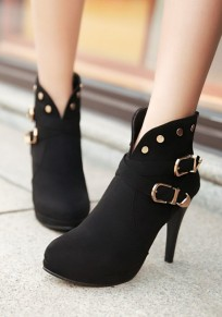 Black Round Toe Stiletto Double Buckle Casual Boots