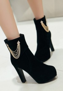 Black Round Toe Chunky Chain Zipper Fashion Ankle Boots
