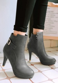 Grey Round Toe Stiletto Buckle Fashion Boots