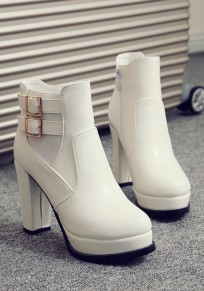 White Round Toe Chunky Double Buckle Fashion Ankle Boots