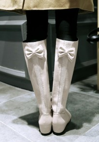 Beige Round Toe Flat Within The Higher Bow Casual Boots
