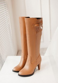 Apricot Point Toe Stiletto Buckle Casual Knee-High Boots