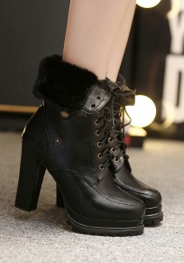 Black Round Toe Chunky Lace-up Two Wearing Casual Boots