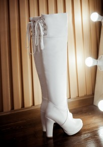 White Round Toe Chunky Casual Over-The-Knee Boots