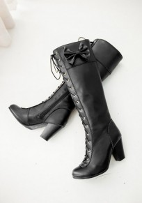 Black Round Toe Chunky Bow Casual Knee-High Boots